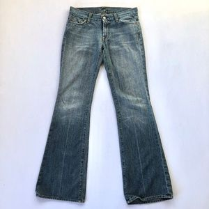 7 FOR ALL MANKIND Mid Wash Blue Flare Denim Jeans